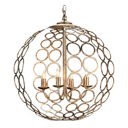 Currey & Company - Currey & Company Tartufo Chandelier CC-9961 - A most unusual design is created from the most simple of shapes. Hammered metal circles are attached to each other to form an orb. Understated arms with a graceful upward swoop are dropped inside the orb to hold the four simple candles. The Silver Granello finish lends a glimmer and glow to this unique design