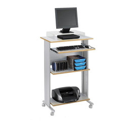 Safco - Muv Stand-up Fixed Height Workstation in Gray - With multiple storage shelves and a slide out keyboard tray, this stand-up workstation will be a versatile addition to any office. Highlighted by molded side panels for hidden cord management, the workstation has shelves for a printer and other accessories and is made of steel and pressed wood in gray finish. Two locking dual wheel carpet casters. Four Casters. Decoratively molded side panels hides cables for a clean appearance. The keyboard shelf extends 9.75 in. and retracts under the work surface when not in use. Frame made from steel. Shelves made from compressed wood. Powder coat frame and melamine laminate finish. Weight Capacity: 100 lbs. (Desk Top), 25 lbs. (Keyboard Tray). Keyboard Shelf Dimensions: 24.75 in. W x 13.5 in. D. Worksurface Height: 45 in.. Worksurface Dimensions: 29.5 in. W x 19.75 in. D x 0.75 in. H. Overall: 29.5 in. W x 22 in. D x 45 in. H (61 lbs.). Assembly InstructionWhat's your Muv? No matter the setting the Muv workstation is the right choice. This mobile workstation is great in the computer lab, library, media center, server room, classroom, faculty lounge, print shop or conference room. It's your Muv.