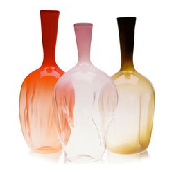 Esque - Ripple Vase, Persimmon - These vases are sure to provide waves of pleasure and stylish fun. Each piece is handblown from persimmon, pink or coffee colored glass, then heated and stretched so that one-of-a-kind waves form. Each is around 18 inches tall and would look great by itself or adorned with a single, dramatic bloom.