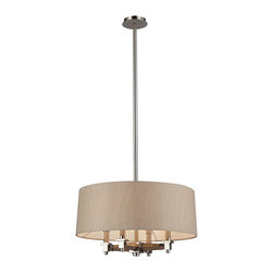 Elk Lighting - Elk Lighting 31335/4 Jorgenson 4 Light Pendant in Taupe Wood & Polished Nickel - 4 Light Pendant in Taupe Wood & Polished Nickel belongs to Jorgenson Collection by Elk Lighting The Jorgenson Collection Stylishly Bridges The Gap Between Mid-Century Modern Furniture Design And Lighting.��_��__ This Collection Was Designed Using Solid Wood That Emulates The Tapered Angle Of Fine Furniture Legs And Angular Metalwork That Compliments Its Sleek Style.��_��__ Choose Between Two Combinations Of Taupe Wood, Polished Nickel Metalwork And Champagne Fabric Shades, Or Mahogany Finished Wood, Satin Brass Metalwork And Tan Crosshatch Textured Linen Shades. Chandelier (1)
