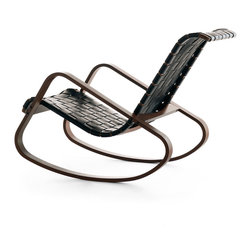 Crassevig - DONDOLO Rocking Chair, Black Leather with Walnut Stain - Iconic rocking chair designed by Luigi Crassevig in 1970. The seat and back are interlaced straps of saddle leather in black or natural. The wood frame is solid steam bent European Beech wood. Made in Italy.