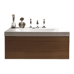 """WS Batch Collections - Bentley 3936C Bathroom Vanity Unit with Drawer Unit 31.5"""" x 19.7"""" - Bentley 3936C by WS Bath Collections, Wall Hung Bathroom Vanity Unit, Includes Ceramic Bathroom Sink with One or Three Faucet Holes, and Wood Drawer Unit"""