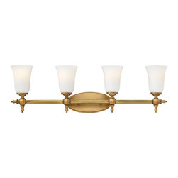 Hinkley - Hinkley-5744BR-Yorktown - Four Light Bath Bar - The elegant Yorktown collection offers updated traditional styling with cast detailing for an authentic touch. The cast back plate finials bar ends and ball transitions combine to make this classic design perfect for any décor.   Brushed Bronze Finish with Etched Opal Glass  Lamp Quantity: 4  Lamp Type: Medium Base  Wattage: 100  Voltage: 120  Damp Location Certified  Material: Steel