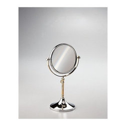 """Windisch by Nameeks - Stand Makeup Mirror - Windisch's Stand Mirrors optical mirror is a makeup magnifying mirror that compliments a contemporary style bath. This free stand makeup mirror is a quality option for your decorative personal bathroom. This high-quality makeup mirror is made of extremely high quality brass and coated in chrome, gold, or chrome and gold. Features: -Makeup mirror. -Stand Mirrors collection. -Contemporary style. -Round shape. -Free standing. -5x Magnification. Specifications: -Overall Dimensions: 13.98"""" H - 15.35"""" H."""
