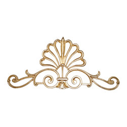 Galaxy-Design - French Shell Crown, Radiant Gold, No Crystal - . All French Shell Crowns come with mounting brackets and a hook for hanging scarf swags / valances