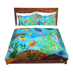 DiaNoche Designs - Duvet Cover Microfiber King from DiaNoche Designs by nJoyArt - Happy Fish III - DiaNoche Designs works with artists from around the world to bring unique, artistic products to decorate all aspects of your home.  Super lightweight and extremely soft Premium Microfiber Duvet Cover (only) in sizes Twin, Queen, King.  Shams NOT included.  This duvet is designed to wash upon arrival for maximum softness.   Each duvet starts by looming the fabric and cutting to the size ordered.  The Image is printed and your Duvet Cover is meticulously sewn together with ties in each corner and a hidden zip closure.  All in the USA!!  Poly microfiber top and underside.  Dye Sublimation printing permanently adheres the ink to the material for long life and durability.  Machine Washable cold with light detergent and dry on low.  Product may vary slightly from image.  Shams not included.