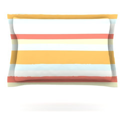 """Kess InHouse - Nika Martinez """"Sand Stripes"""" Pillow Sham (Cotton, 40"""" x 20"""") - Pairing your already chic duvet cover with playful pillow shams is the perfect way to tie your bedroom together. There are endless possibilities to feed your artistic palette with these imaginative pillow shams. It will looks so elegant you won't want ruin the masterpiece you have created when you go to bed. Not only are these pillow shams nice to look at they are also made from a high quality cotton blend. They are so soft that they will elevate your sleep up to level that is beyond Cloud 9. We always print our goods with the highest quality printing process in order to maintain the integrity of the art that you are adeptly displaying. This means that you won't have to worry about your art fading or your sham loosing it's freshness."""