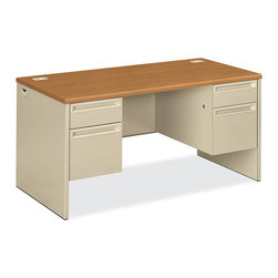 Rulers.com - HON 38000 Series 3/4 Double Pedestal Desk - HON's popular 38000 Series is a rugged, good-looking solution with a high-pressure laminate top with waterfall-shaped edges that sets the standard for metal desks. This double pedestal credenza pairs nicely with a 38000 Series double pedestal credenza or credenza shell with modular storage.