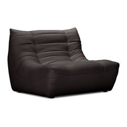 ZUO - Carnival Single Seat - Espresso - The Carnival sectional set is like curling up in someone's arms. Wrapped in a soft leatherette, it's padded and tufted in all the right places. Comes in espresso, black or white.