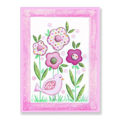 Stupell Industries - Pink Bird and Flowers with Polka Dot Border Wall Plaque - Made in USA. MDF Fiberboard. Hand finished and packed. Approx. 15 in. W x 11 in. L. 0.5 in. ThickThe Kids Room by Stupell features exceptional handcrafted wall decor for children of all ages.  Using original art designed by in-house artists, all pieces feature hand painted and grooved borders as well as colorful grosgrain ribbon for hanging.  Made in the USA, everything found in The Kids Room by Stupell exudes extraordinary detail with crisp vibrant color. Whether you are looking for one piece to match an existing room's theme, or looking for a series to bring the kid's room to life, you will most definitely find what you are looking for in The Kids Room by Stupell.