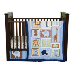 """Trend Lab - Jungle 123 - 3 Piece Crib Bedding Set - 1-2-3 learn and play with me! Trend Lab's Jungle 123 3-Piece Crib Bedding Set combines cute jungle animals with ABC's and 123's. The modern tiled layout, beautiful color palette and soft navy corduroy trim sets this jungle themed collection apart from the rest. Chevron, dot, stripe, triangle, and onion prints add trend-right detailing while shades of cornflower blue, chocolate, caramel, aquamarine, buttercup, celery, pistachio and navy create the most enjoyable and colorful jungle nursery around! . Quilt measures 35"""" x 42"""" and features a tiled layout of jungle animals, letters and numbers in shades of cornflower blue, chocolate, caramel, aquamarine, buttercup, celery, pistachio and navy. A navy corduroy trim adds the finishing touch. Backside of quilt features a cornflower blue and white onion print providing trendiness and decorating versatility. Crib Sheet features an adorable white based jungle animal print featuring animals mixed with numbers and letters in shades of cornflower blue, chocolate, caramel, aquamarine, buttercup, celery, pistachio and navy. Sheet fits a standard 52"""" x 28"""" crib mattress and has 8"""" deep pockets with elastic surrounding the entire opening ensuring a more secure fit. Box pleat crib skirt with 12"""" drop features a tonal blue stripe, adorable printed animals and a navy corduroy trim. Coordinating Jungle 123 Crib Bumpers and room accessories by Trend Lab are sold separately."""