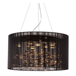 Symphony Chandelier - Illuminate your own boldly modern décor with the Symphony Chandelier. This eye-catching ceiling lamp provides a visual accent to complement your space. The lamp features eight halogen bulbs to create the appearance of liquid chrome floating under a muted black veil.