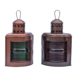 """Handcrafted Model Ships - Antique Copper Port and Starboard Oil Lamp 17"""" - Nautical Lantern - This Antique Copper Port and Starboard Oil Lantern 17"""" is an authentic and functional ship lantern set. This lamp is hand-painted an antique copper finish to create a vintage port and starboard replica lantern as used onboard tall ships, this ship lantern is true to the original design of period lamps. Each lamp can be identified by the words """"Port"""" and """"Starboard"""" at the top of each lantern. In addition the port lantern displays a green stained glass, while the starboard lantern has a red stained glass. Our boat lantern is fully functional and simply needs oil to omit light."""