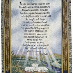 Manual - 23rd Psalm Religious Print Tapestry Throw Blanket 50 Inch x 60 Inch - This multicolored woven tapestry throw blanket is a wonderful addition to any home. Made of cotton, the blanket measures 50 inches wide, 60 inches long, and has approximately 1 1/2 inches of fringe around the border. The blanket features lambs resting at the edge of a stream. The words to The Lord's Prayer, also known as the 23rd Psalm, are printed in the center. Care instructions are to machine wash in cold water on a delicate cycle, tumble dry on low heat, wash with dark colors separately, and do not bleach. This comfy blanket makes a great gift for friends and family.