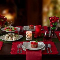 Holiday Dining - Refresh your table setting with square dinnerware! This square set is a nice departure from conventional round dinnerware, or you can mix and match the two. The square pieces have rounded corners, so the two different shapes actually complement each other.