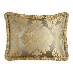 Austin Horn Collection - King Damask Sham with Ruched Welt - SEAMIST/GOLD (KING) - Austin Horn CollectionKing Damask Sham with Ruched Welt