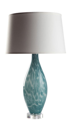 Loving Lighting - Sea Foam Blue Glass Lamp with White Shade - Features: