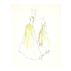 Lost Art Salon - Original 1950s Yellow Fashion Drawing by Gibson Bayh - A design darling of Fifties' stars like Anne Baxter and Dina Shore, Gibson Bayh gained renown for his understated yet dramatic gowns. Dress up your favorite room with this glamorous gouache-and-ink drawing.