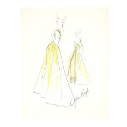 Lost Art Salon - 1950s Yellow Fashion Drawing by Gibson Bayh - A design darling of Fifties' stars like Anne Baxter and Dina Shore, Gibson Bayh gained renown for his understated yet dramatic gowns. Dress up your favorite room with this glamorous gouache-and-ink drawing.