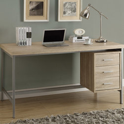 Monarch - Natural Reclaimed-Look/Silver Metal 60in.L Office Desk - Create and undustrial yet simple style to your home with this 3 drawer natural reclaimed wood-look hollow-core desk. A beautiful silver metal frame supports this thick topped work station with generous drawer storage.