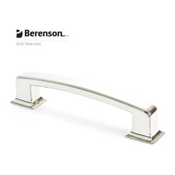 "4141-1014-P Polished Nickel Pull by Berenson Hardware - Polished Nickel 6"" center to center cabinet pull. Return to glamor with Polished Nickel, a rich metallic finish that coordinates well with many faucets and fixtures. This finish is ideal for achieving a high end look in traditional or transitional style kitchens and baths."