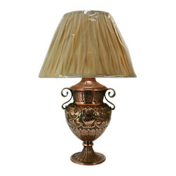 Lavish Shoestring - Consigned Copper Table Lamp with Floral Decoration, Antique Dutch, 19th Century - This is a vintage one-of-a-kind item.