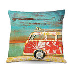 DiaNoche Designs - Pillow Linen by Danny Phillips - Santa Cruise - Add a little texture and style to your decor with our Woven Linen throw pillows. The material has a smooth boxy weave and each pillow is machine loomed, then printed and sewn in the USA.  100% smooth poly with cushy supportive pillow insert with a hidden zip closure. Dye Sublimation printing adheres the ink to the material for long life and durability. Double Sided Print, machine wash upon arrival for maximum softness. Product may vary slightly from image.