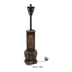 Chinese Tibetan Flower Red Yellow Round Base Floor Lamp - This is a wooden lamp with Tibetan red and yellow base color with flower graphic .