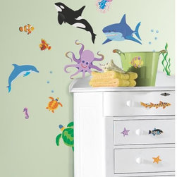 Roommates Decor - New Speed Limit Awesome Ocean Peel & Stick Wall Decals - Add a touch of the outdoors with these bees and butterflies wall decals. These removable and repositionable wall stickers are easy to install and can be placed on any smooth, flat surface. Apply them to walls, windows, or furniture for a cheery addition to any room. Like all of our designs, these fun decals will not damage your walls or leave behind any sticky residue.
