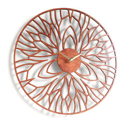 Sarah Mimo - Iris Clock, Caramel - The Iris clock is one of the newest designs from Sarah Mimo Clocks. It merges organic forms and clean lines.