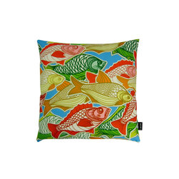 Lava - Swimming Fish 20 x 20 Pillow (Indoor/Outdoor) - 100% polyester cover and fill. Zippered closure with 100% polyester filled insert. Made in USA. Spot clean only. Safe for use indoors or out.