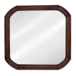 "Hardware Resources - Lyn Design MIR025 Wood Mirror - 26"" x 26"" Walnut reed-frame mirror with beveled glass"