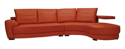 Beverly Hills Furniture Inc. - Matisse Italian Leather Sectional Sofa, Right Chaise - This sectional featured by smooth style, kiln dried solid wood frame construction for durability, detachable goose down back pillows wrapped in supple leather and high density foam seating for comfort and longevity.