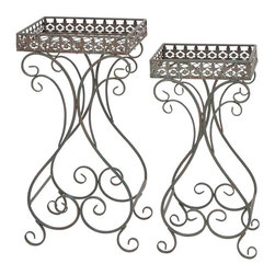 Benzara - Plant Stand with Curvy Design and Space Efficient - Set of 2 - Decorate your garden or patio with these plant stands. These decorative plant stands are square in shape and can be placed indoors as well as outdoors. You can adorn your interiors with flowering plants with the help of these plant stands. Displaying your flowering plants is easy with these plant stands. Brandishing a metallic construction, these plant stands are sturdy and robust in make. This decorative accessory is smeared in black hue and exudes a rustic appearance. These plant stands blend well with traditional as well as contemporary set up. They feature a curvy and swirly design, which enhances the decor of your house. These plant stands are space efficient and make it possible to show off your exotic collection of pants around the house. Made of metal, they will last for a long time and allow hassle-free use..