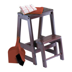 Winsome - Step Stool - Solid wood construction step stool. Sturdy toos for reaching higher place. The lower step piece stores up when not in use.