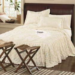 Ruffled Chenille Bedspread - Rich girls here in the South love deep-ruffled bedspreads. The best price I have found up until now hovers around $300. This one is a bargain, starting at $69.99.