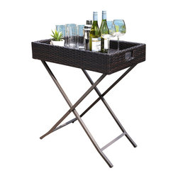 Crosley - Palm Harbor Outdoor Wicker Butler Tray - Expand your entertainment options with Crosley's Wicker Butler Tray. Constructed of durable steel, this useful server can double as a side table or small bar. Covered in all-weather durable resin wicker, the Butler Tray is designed to last party after party, year after year.