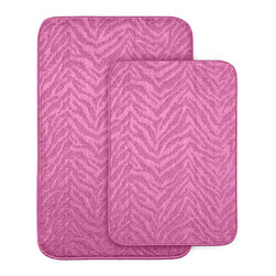 None - Wild Style Pink Bath Rugs (Set of 2) - Add fun, comfort and style to your bath or shower room with these Wild Style animal stripe bath and shower rugs. Each bath rug is backed with non-skid latex to prevent slipping.