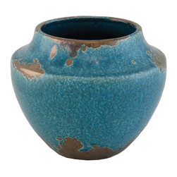 "Selectives - 8-Inch Wide Brazil Decorative Vase - Add a vibrant color to your home décor  with this 7"" tall blue ceramic vase.  It features gold rustic gold accents to add a vintage charm and character to this piece."