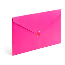 Poppin - Soft Cover Folio, Pink - Forget vanilla manila. In your choice of brilliant colors, each of these soft cover folios opens to reveal bright white inside and features a colorful coordinating string closure. Whether you're transporting multimillion-dollar contracts or clipped coupons, carry your papers in high style.
