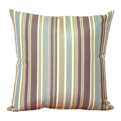 Pillow Decor - Pillow Decor - Sunbrella Brannon Whisper Stripes 20 x 20 Outdoor Pillow - The Brannon Whisper Stripes Throw Pillow combines thick and thin stripes in soft mauve, blue, green gray and brown. The muted hues combine beautifully in this elegant striped decorative pillow. This series of outdoor pillows are made with Sunbrella indoor/outdoor fabrics.