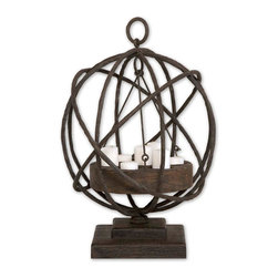 Uttermost - Uttermost Sammy Wooden Candleholder 17059 - Made from plantation grown mindi wood in a weathered chestnut finish with iron details. White candles included.