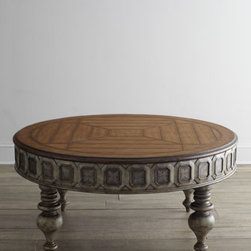"Ambella - Ambella Chivington Coffee Table - Looking for an inviting coffee table with a twist? This two-tone table is adorned by an intricately etched brass design on its apron. Handcrafted of gmelina, gmelina and white oak veneer, and etched brass. Two drawers with antiqued-mirror fronts. 48""..."
