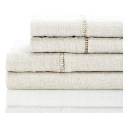 Melange Home - Linen Sheet Set, Natural - Details: