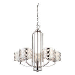 Nuvo Lighting - Nuvo Lighting 60/4665 Chandelier - Polished Nickel - Margaux's style is derived from a mid-century modern design - kicked up a notch. Available in highly Polished Nickel with Satin White glass shades or Patina Bronze with Chestnut glass shades.