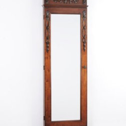 Ornate Armoire Mirror - More than just a mirror, this large, beautifully crafted piece opens to reveal ample storage for your jewelry collection, including ring cushions, 24 hooks and 9 compartments!  You'll also find a burgundy faux velvet lining to prevent damage from scuffs and scratches.