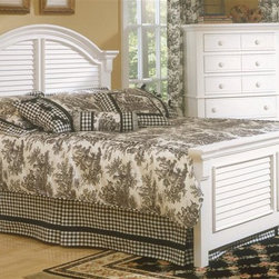 American Woodcrafters - Cottage Traditions Panel Bed (Queen) - Choose Size: QueenChest not included. Crown shaped headboard and rail. Decorative arched louvered inserts on headboard and footboard. Mortise and tenon construction. Made from select hardwood solids and medium density fiber board. Eggshell white finish. Assembly required. Queen: 89 in. L x 69.75 in. W x 56.38 in. H (145 lbs.). King: 89 in. L x 86.5 in. W x 56.38 in. H (173 lbs.)Bring instant charm and warmth to your bedroom with Cottage Traditions queen panel bed from American Woodcrafters.