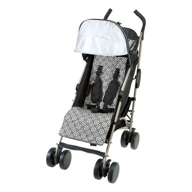 Baby Cargo - Baby Cargo Series 300 Lightweight Umbrella Stroller - Moonless Night Multicolor - Shop for Carriages and Strollers from Hayneedle.com! The Baby Cargo Series 300 Lightweight Umbrella Stroller - Moonless Night is the travel companion that thought of everything. With a washable seat cushion that reverses from a playful pattern to solid this lightweight forward-facing stroller is compact and easy to fold with a carrying handle for portability - wherever you and your baby roam. The retractable canopy protects your baby from the sun's harmful UV rays and keeps them entertained at the same time with two loops to secure their toys for easy access. For all your necessities an under-stroller cargo basket smartphone pocket with access window back pocket that can double as a clutch and a convenient cup holder are included. Keep baby comfortable with the adjustable reclining back rest and footrest removable infant positioner and plush harness straps featuring a pacifier attachment hook and keep them safe with the five-point safety harness. This stroller has a durable lightweight aluminum frame and is recommended for ages newborn and up (up to 50 lbs.). Additional Features Retractable canopy with 2 toy loops shields your child from UV rays Flexible removable infant positioner secures your resting newborn Back pocket smartphone pocket with access window storage basket cup holder and wood rattle ring included Eye-catching black gray and white pattern with light blue accents Open dimensions: 11W x 12.5D x 42H in. About Baby CargoBaby Cargo considers style a matter of substance. Being parents as well as designers and engineers Baby Cargo finds inspiration everywhere: fashion nature car designs interior decor and from moms carrying babies and all their cargo. At Baby Cargo every stitch dye button and rivet is hand-tested for baby-readiness and safety as well as aesthetics and quality. Baby Cargo strives to design products with fresh cohesive looks. From fasteners to acces