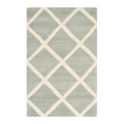 Safavieh - Celestia Hand Tufted Rug, Grey / Ivory 2' X 3' - Construction Method: Hand Tufted. Country of Origin: India. Care Instructions: Vacuum Regularly To Prevent Dust And Crumbs From Settling Into The Roots Of The Fibers. Avoid Direct And Continuous Exposure To Sunlight. Use Rug Protectors Under The Legs Of Heavy Furniture To Avoid Flattening Piles. Do Not Pull Loose Ends; Clip Them With Scissors To Remove. Turn Carpet Occasionally To Equalize Wear. Remove Spills Immediately. A timeless quatrefoil motif makes a global design statement in the subtle but sophisticated Desai area rug. These stunning hand-tufted wool rugs are crafted in India to recreate the elegant look of hand-knotted carpets for today's lifestyle interiors.