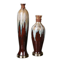 """Uttermost - Uttermost Aegis Ceramic Vases Set of 2 19844 - Textured ceramic finished in rustic brown, Smoke blue, aged white and black glazes accented by a dark bronze foot and rattan details. Small size: 7""""W x 19""""H x 7""""D, Large size: 6""""W x 27""""H x 6""""D."""